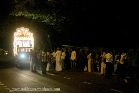 Wedding procession at night