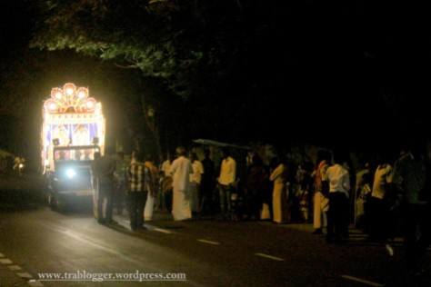 Wedding procession at night