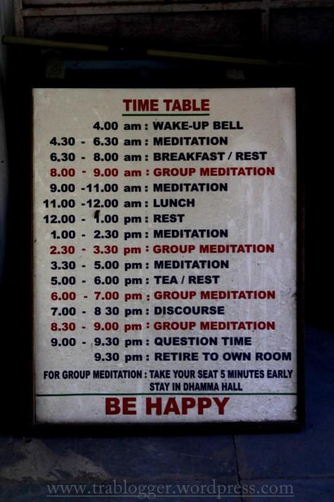 Vipassana Daily Time Table
