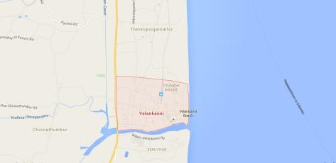 Location of Velankanni